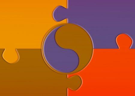 Yin und Yang Puzzle Polaritäten